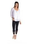 Multi-layered Top with Cuffed Sleeves and a Golden Accent
