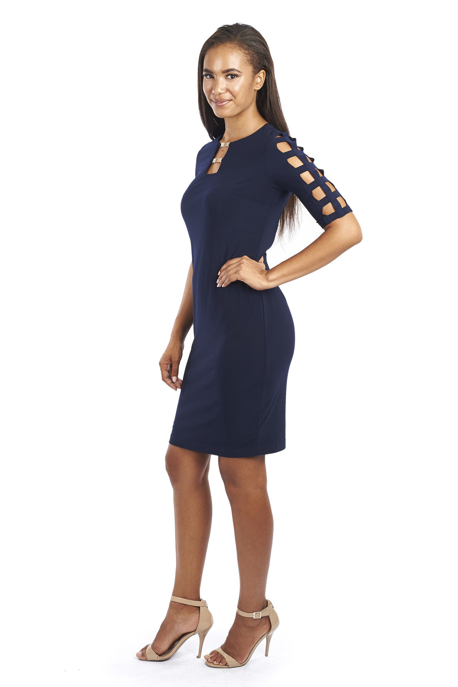 Cocktail Dress with Laser Cut-out sleeves