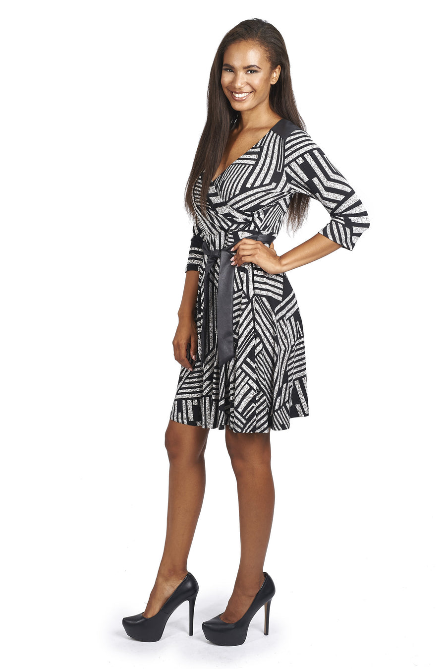 Geometric Striped Cocktail Dress with Removable Belt