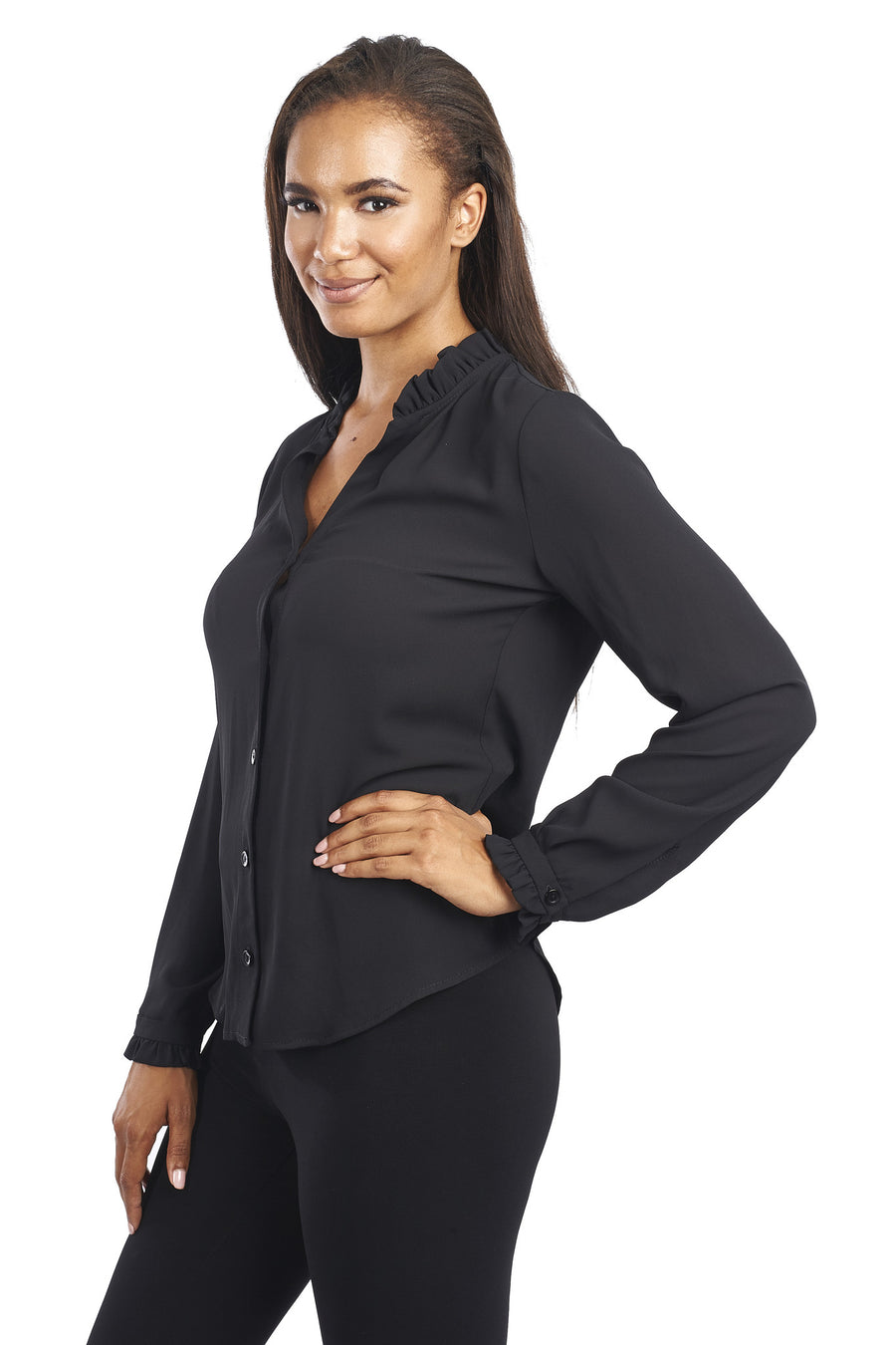 Long Sleeve Blouse with Ruffled Trim in Black