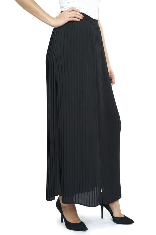High-Waisted Pant with Pleated Overlay