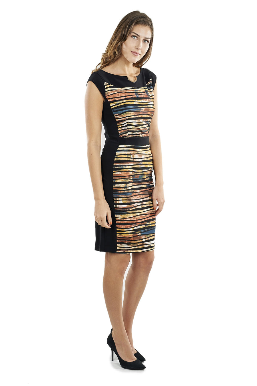 Striped Dress with Horrizontal Fabric Accents