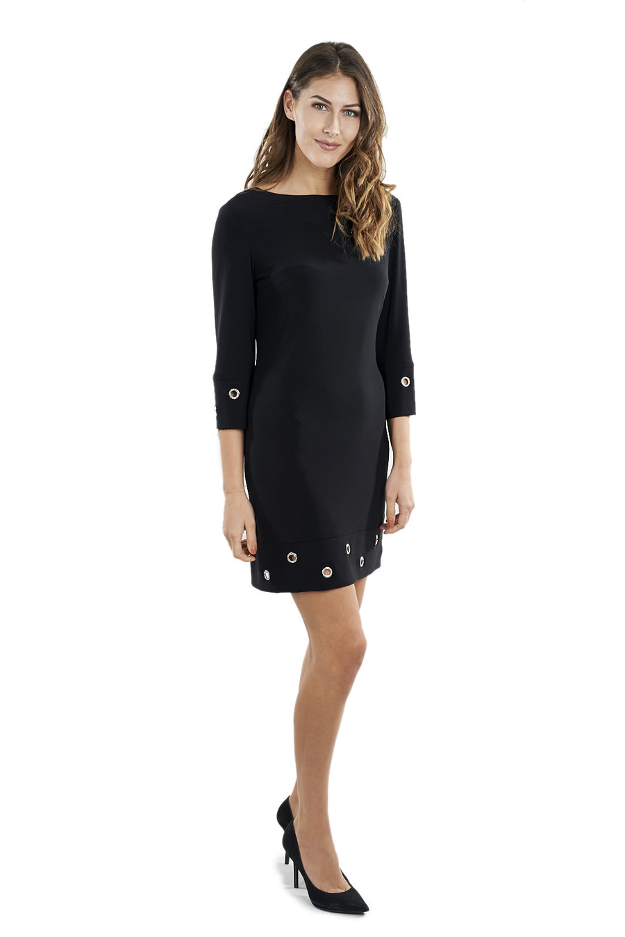 Cocktail Dress with Silver Accents and Long Sleeves
