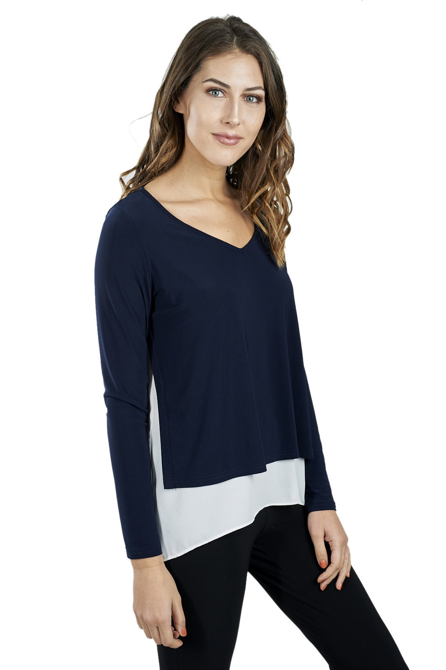 Long Sleeve V-neck with Side Slits