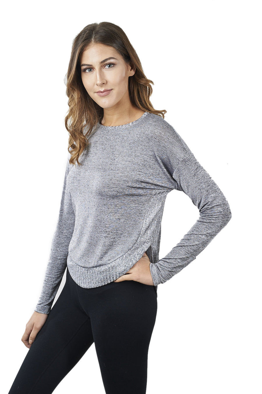 Silver Marbled Sweater Top