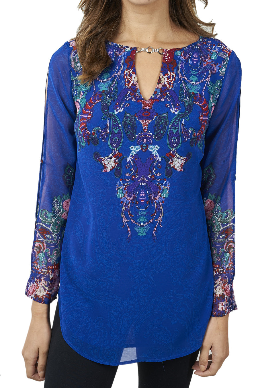 Royal Blue Paisley Print Top