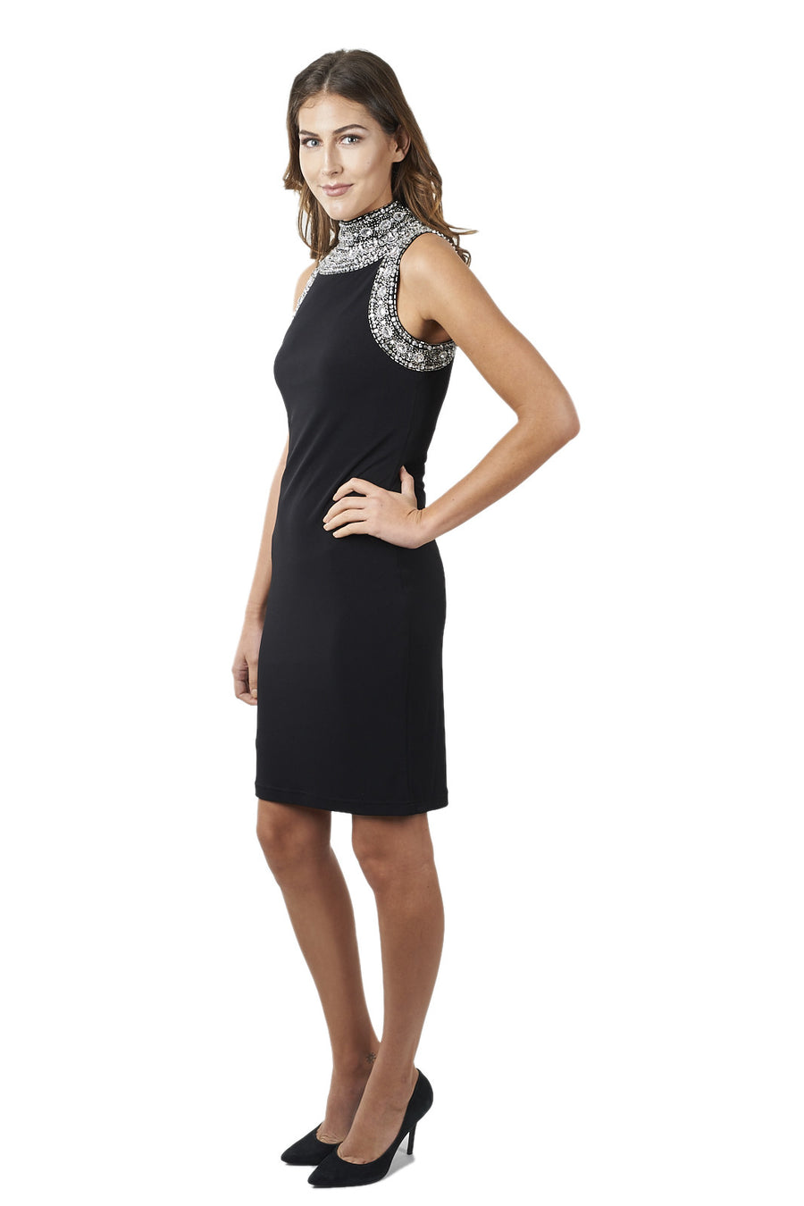 Halter Dress with Jewel Accents