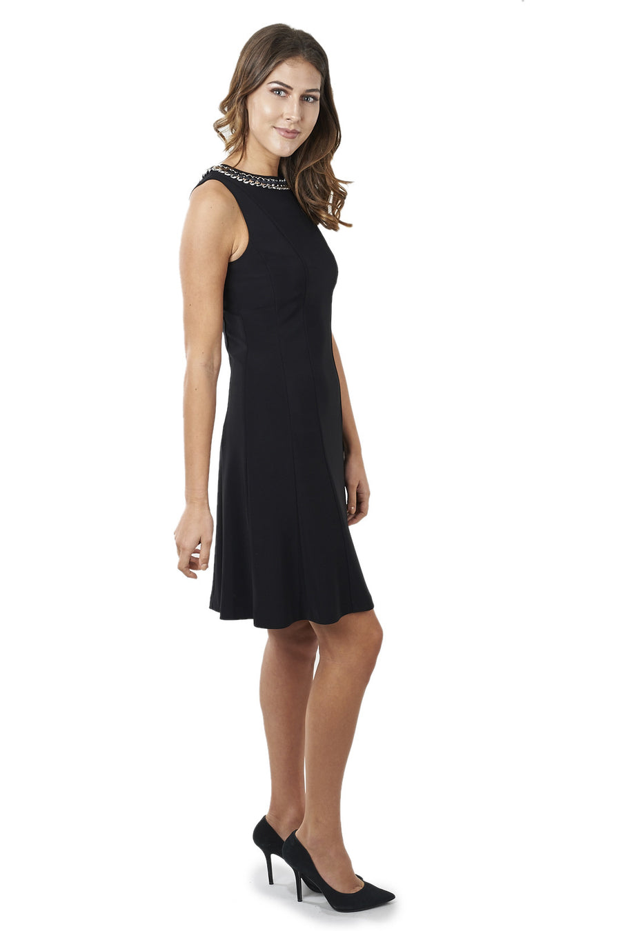 A-line Dress with Woven Chain Accent on Neckline