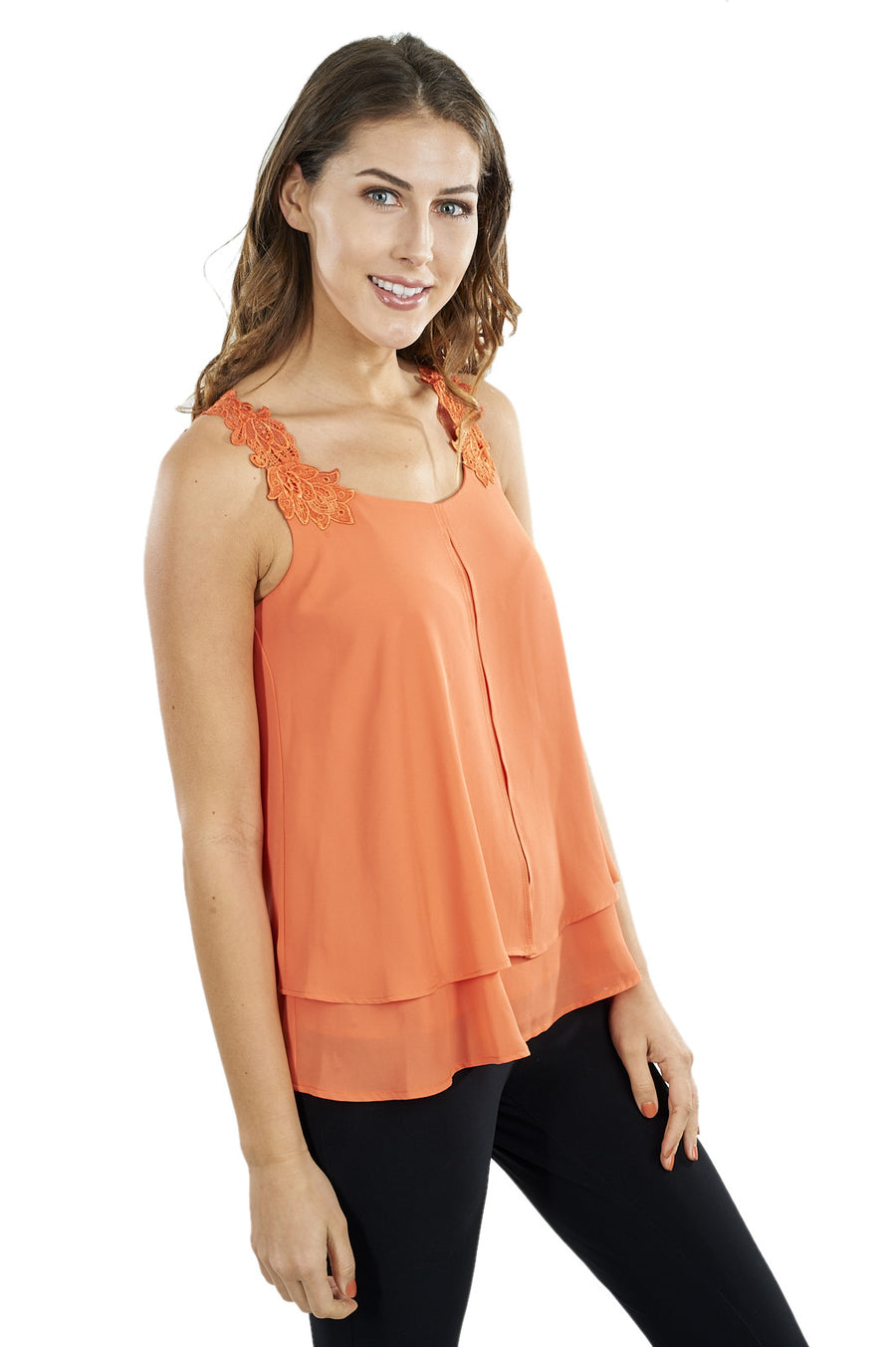 Multi-layered Tank Top with Lace Straps and Back Yoke