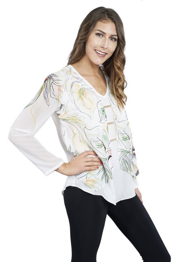Floral Printed Long Sleeve with Diamante Accents