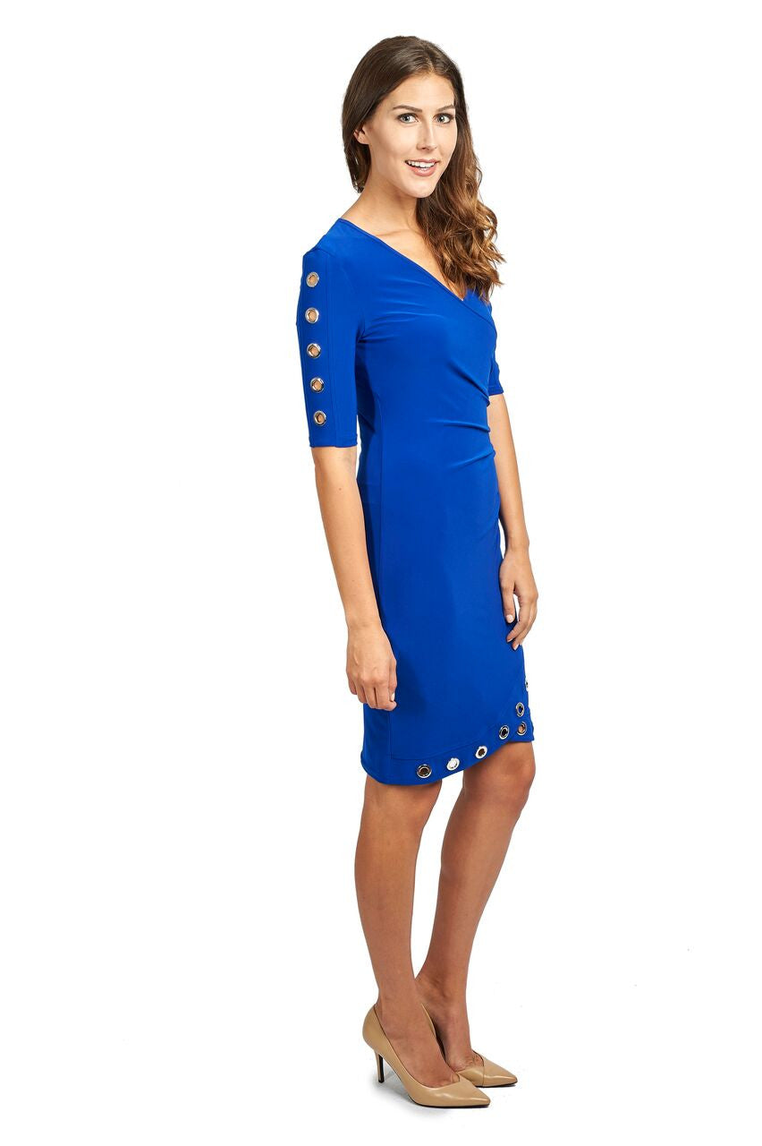 Faux Wrap Dress with Grommets