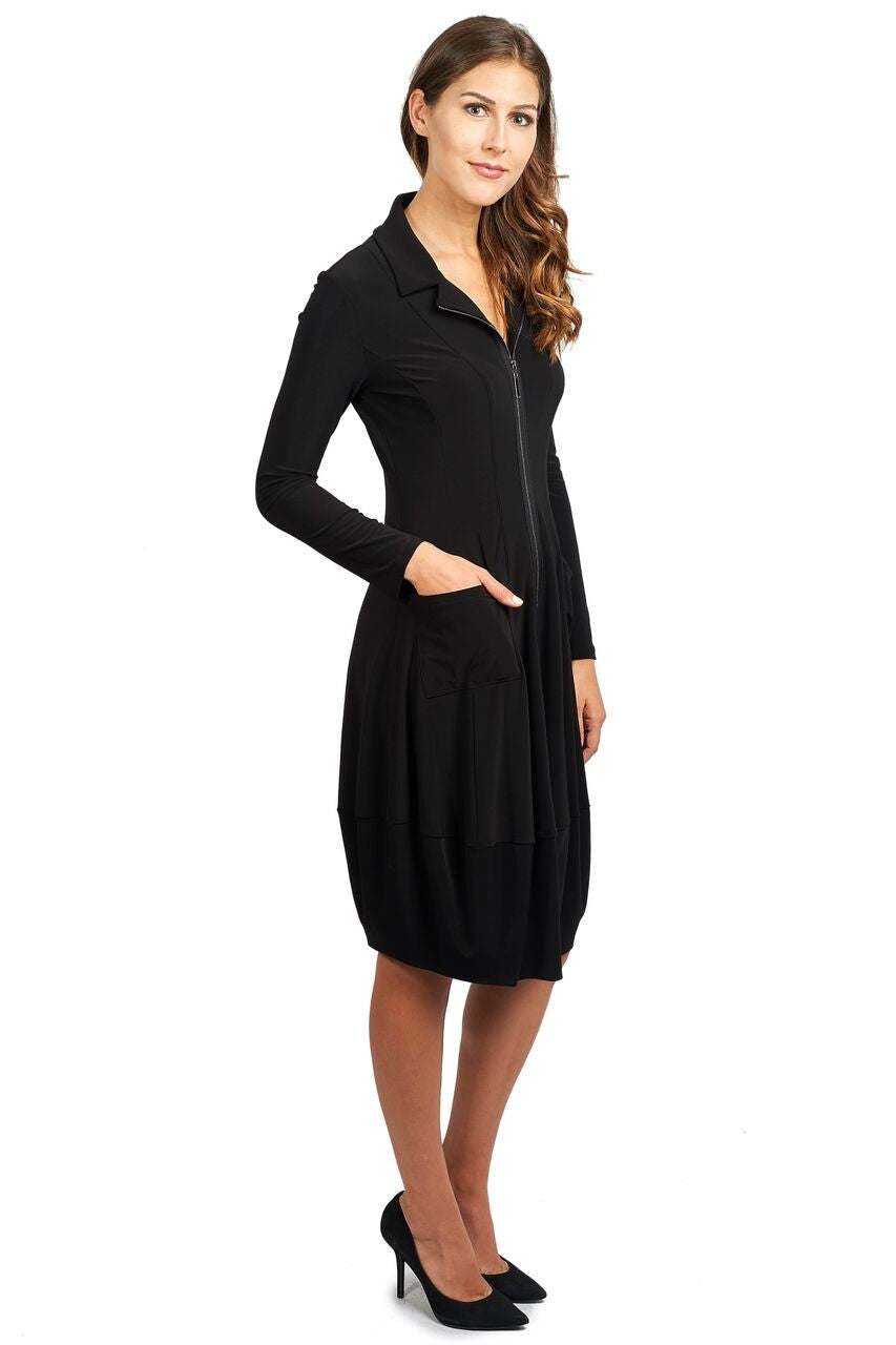 Long Sleeve Zippper Dress with Bubble Hem