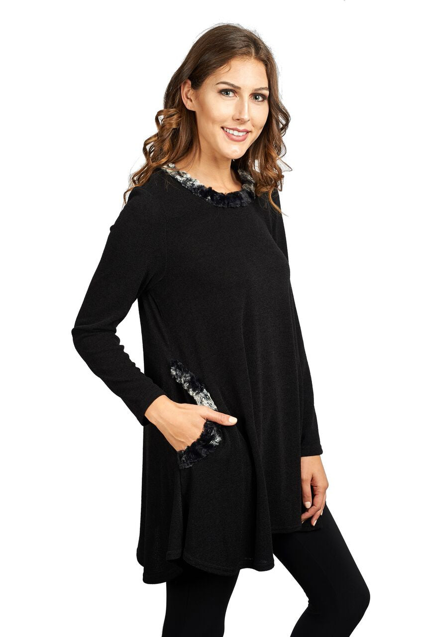 Knit Tunic Top with Faux Chinchilla Trim