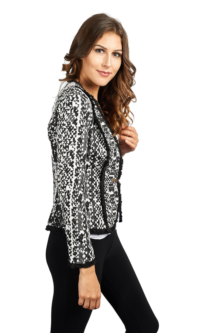 Fitted Houndstooth Jacket