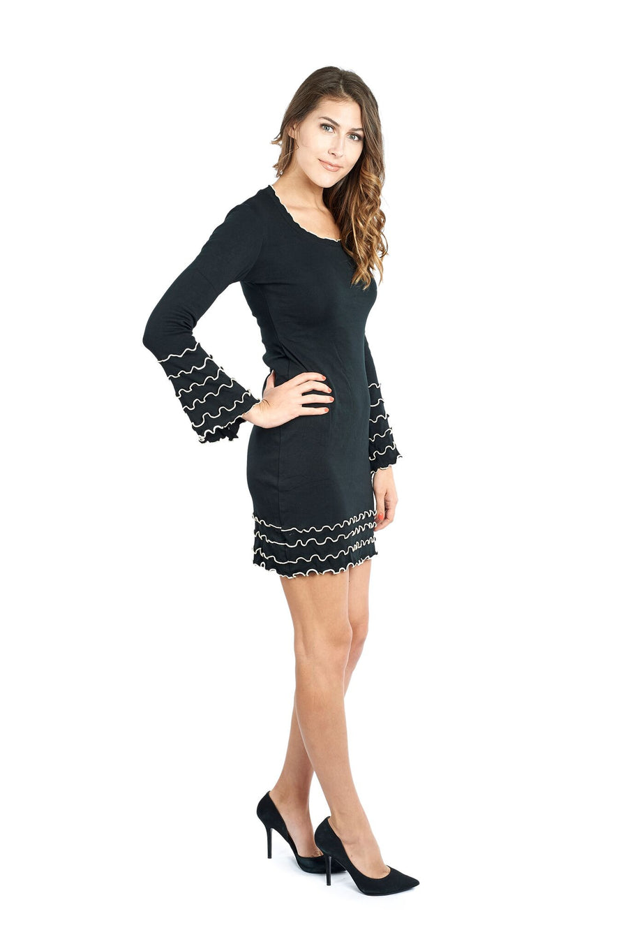 Cotton Long Sleeve Dress with Ruffle Edging