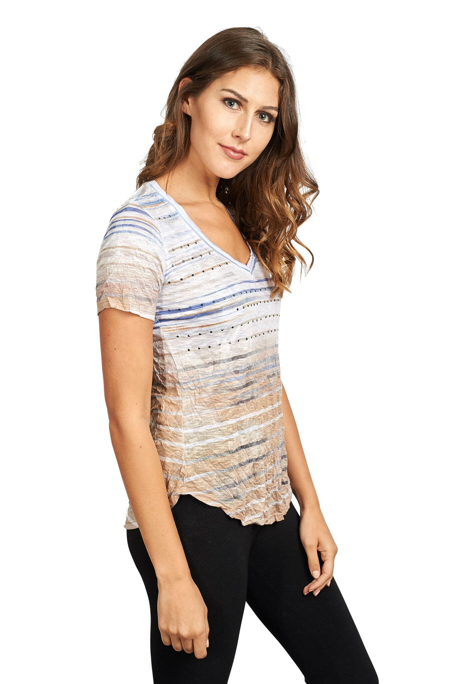 V Neck Short Sleeve Summer Tee Shirt with Crystals