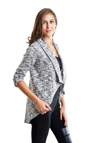 Hi-Low Knit Cardigan Jacket with Crochet Back