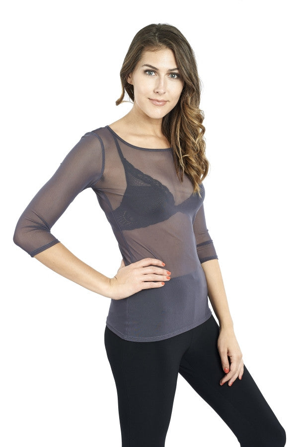 Sheer Mesh 3/4 Sleeve Solid Top