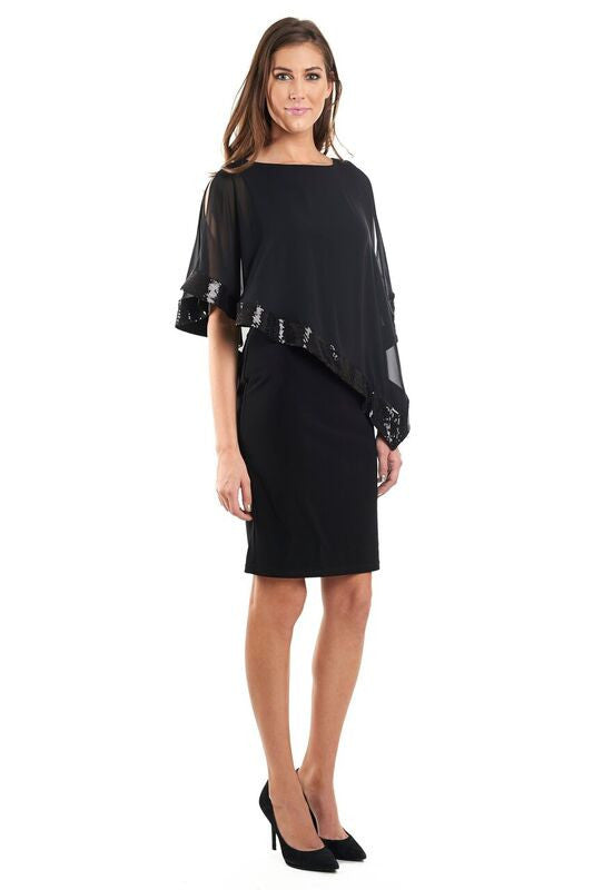Sheath Dress with Popover Beaded Cover-Up