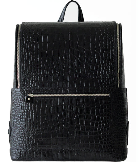 Dark Brown Croc-Embossed Italian Leather Laptop Bag