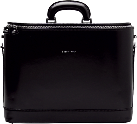 Navy Blue Italian Leather Attaché Case