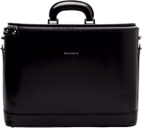 Black leather attaché briefcase and laptop bag for men and women