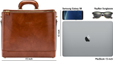 Size indicator for Bucklesbury Caramel leather attaché briefcase and laptop bag for men and women
