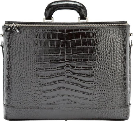 Caramel Croco Italian Leather Attaché Case