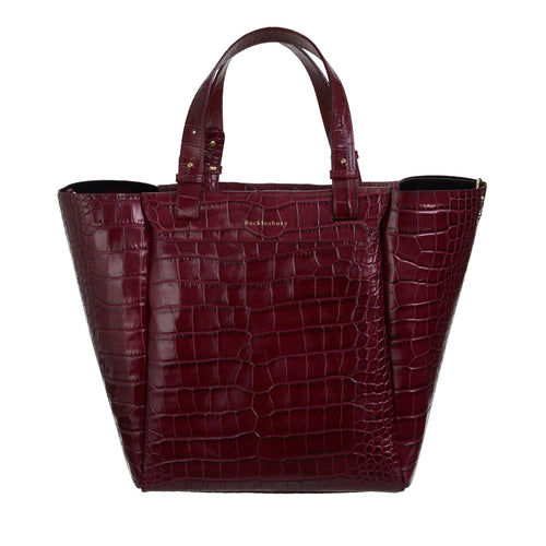 The Bucklesbury Tote handbag in deep shine burgundy croc