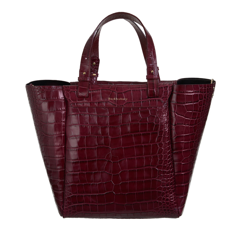 Tote Handbag in Burgundy Croc