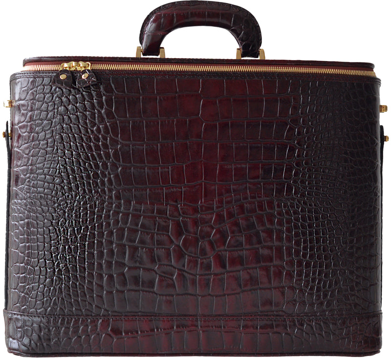 Burgundy Croco leather attaché briefcase and laptop bag for men and women