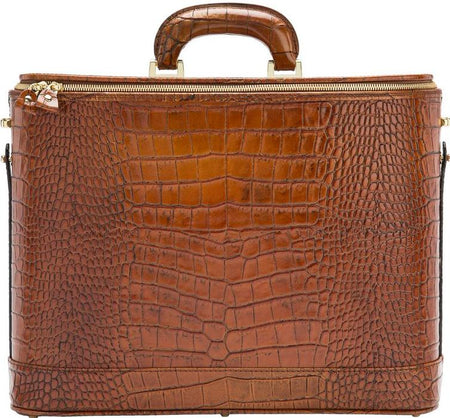 Dark Brown Croco Italian Leather Attaché Case