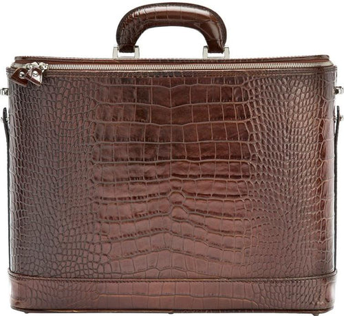 Dark Brown Croco leather attaché briefcase and laptop bag for men and women