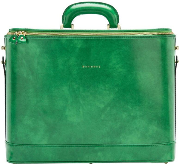 Emerald Green leather attaché briefcase and laptop bag for men and women