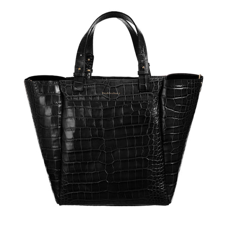 Black Croc-Embossed Bucklesbury Fine Italian Leather Backpack