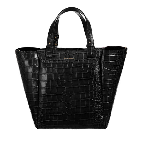 The Bucklesbury Tote handbag in deep shine black croc