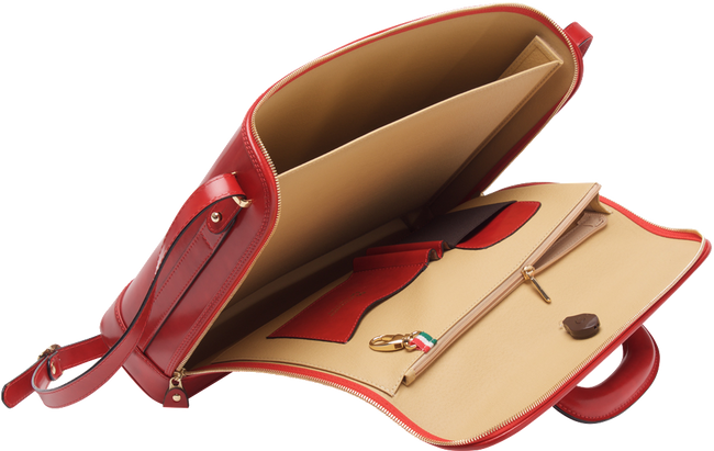 Red attaché briefcase and laptop bag for men and women