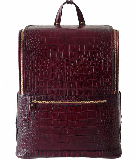 Dark Brown Croc-Embossed Bucklesbury Fine Italian Leather Backpack