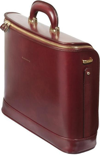 Burgundy leather attaché briefcase and laptop bag for men and women
