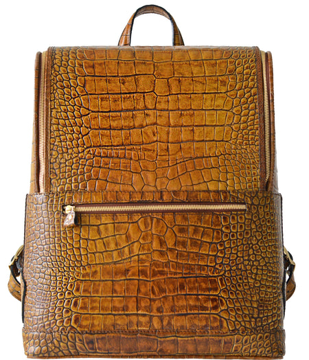 Burgundy Croc-Embossed Bucklesbury Fine Italian Leather Backpack