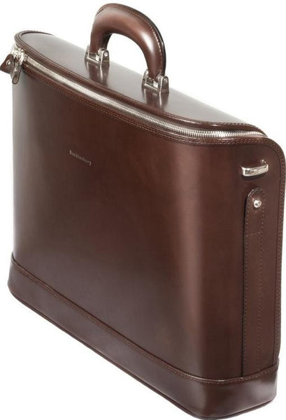 Dark Brown leather attaché briefcase and laptop bag for men and women
