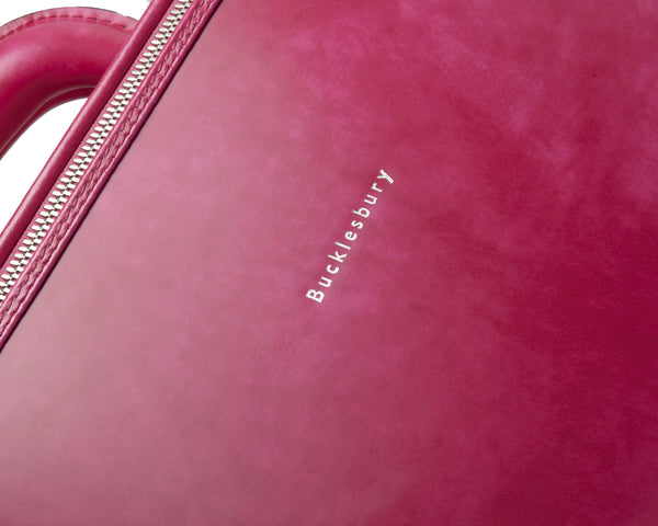 Fuchsia leather attaché briefcase and laptop bag for men and women