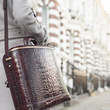 Burgundy Croc-Embossed Italian Leather Laptop Bag
