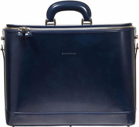 Royal Blue Italian Leather Attaché Case