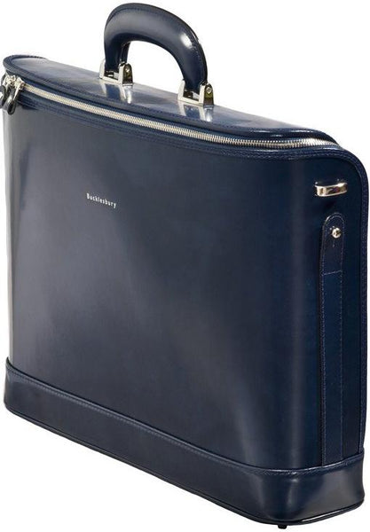 Navy blue leather attaché briefcase and laptop bag for men and women