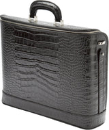 Black croco leather attaché briefcase and laptop bag for men and women
