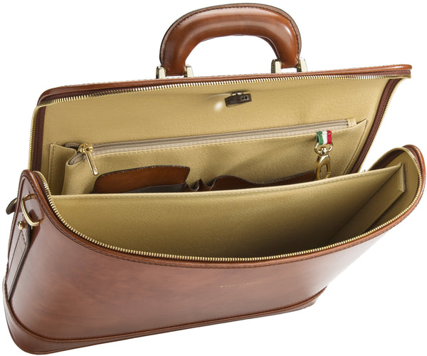 Caramel leather attaché briefcase and laptop bag for men and women