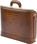 Croco Caramel leather attaché briefcase and laptop bag for men and women