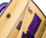 Purple leather attaché briefcase and laptop bag for men and women
