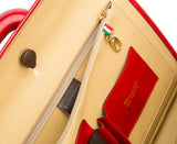 Red leather attaché briefcase and laptop bag for men and women